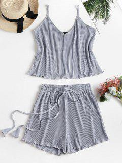 Metallic Cami Top And Shorts Two Piece Set - Silver L