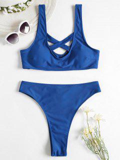 Kreuz Tank Hoch Taillierter Bikini Set - Azurblau L