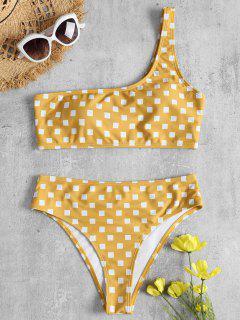 Geometrischer Druck Eine Schulter Bikini - Niedliches Gummi Gelb S