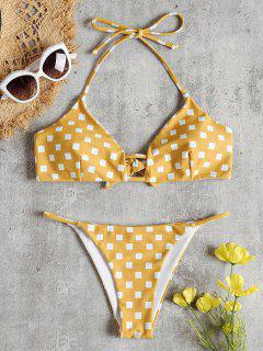 Geometric Print Halter Bikini Set - Golden Brown S
