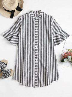 Striped Bell Cuff Midi Shirt Dress - Gray S