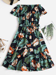 Vestido A Media Pierna Con Estampado Tropical En El Hombro - Multicolor L