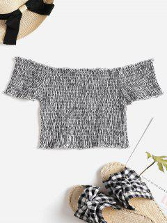 Gestreifte Smocked Off The Shoulder Top - Multi S