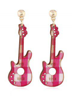 Guitar Decorative Party Dangle Earrings - Rose Red