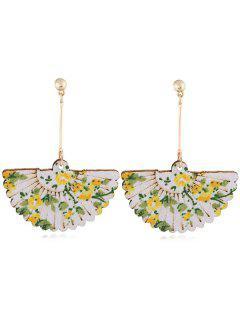 Floral Fan Decorative Wedding Party Hook Earrings - Yellow
