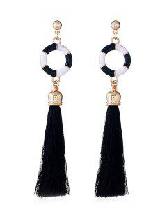 Swimming Ring Decorative Long Tassel Drop Earrings - Black