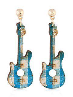 Guitar Decorative Party Dangle Earrings - Macaw Blue Green