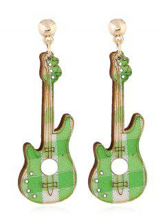 Guitar Decorative Party Dangle Earrings - Green