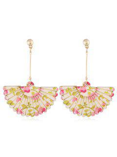 Floral Fan Decorative Wedding Party Hook Earrings - Pink