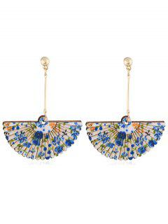 Floral Fan Decorative Wedding Party Hook Earrings - Blue