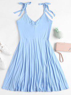 Rüschen Ärmelloses Kleid  - Hellblau S