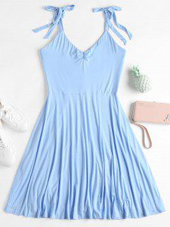 Ruched Sleeveless Dress - Light Blue M