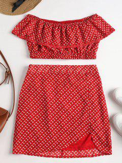 Printed Off Shoulder Skirt Set - Love Red L