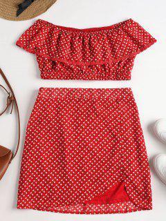 Printed Off Shoulder Skirt Set - Love Red S