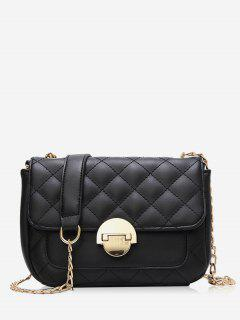Retro Quilted Flap Chain Crossbody Bag - Black