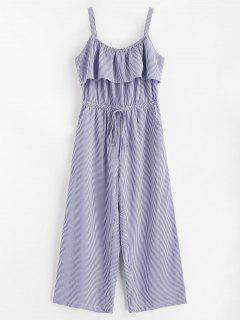 Striped Wide Leg Jumpsuit - Denim Blue M