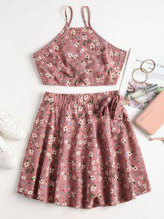 Floral Print Knotted Skirt Set - Lipstick Pink L
