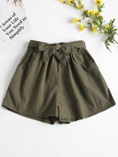 High Waisted Paper Bag Shorts - Army Green L