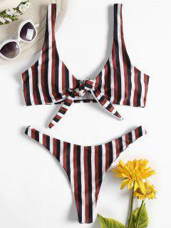 Striped Bowknot Thong Bikini Set - Multi-a M