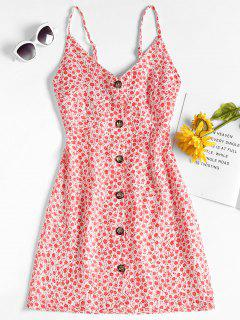 Floral Print Button Up Mini Dress - Red L