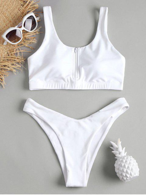 shop Zip Front Sports Bikini Set - WHITE L Mobile