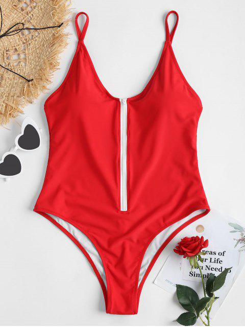 lady Zipper One Piece Swimsuit - LOVE RED L Mobile