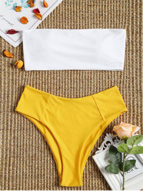 lady High Cut Two Tone Bandeau Bikini Set - YELLOW S Mobile
