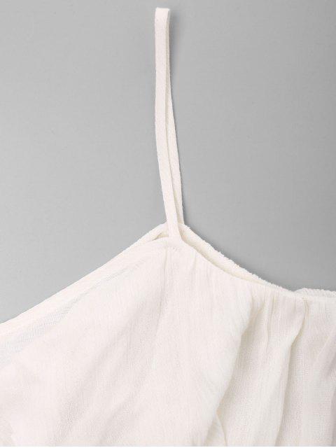 unique Open Shoulder Flounce Applique Top - WHITE XL Mobile