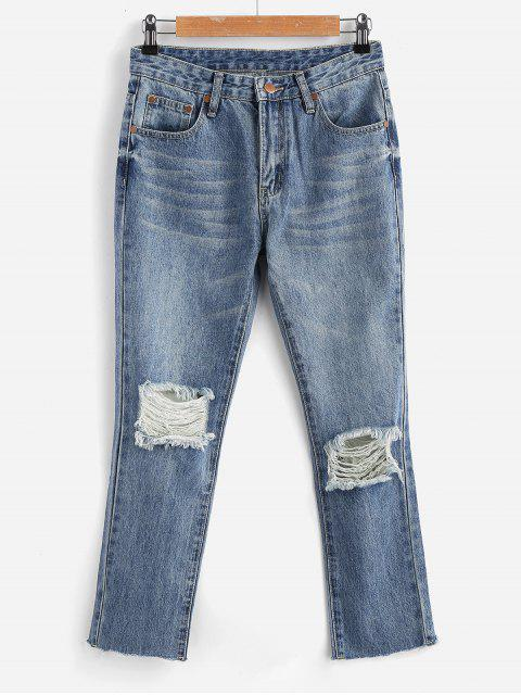 fashion Zippered Ripped Jeans - JEANS BLUE L Mobile