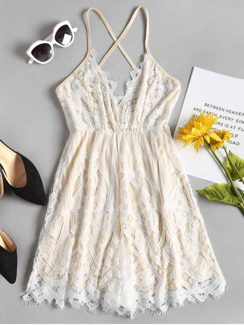 Cami Criss Cross Lace Romper - Blanco L Mobile