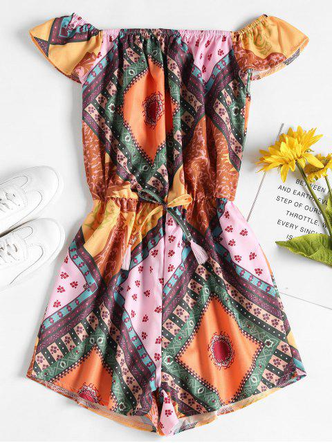 Off The Shoulder Scarf Print Romper - Multicolor S Mobile
