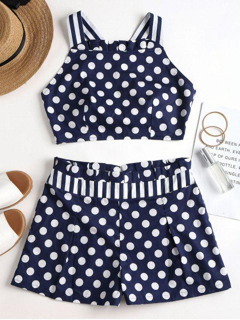 women Criss Cross Dots Stripes Shorts Set - CADETBLUE M Mobile