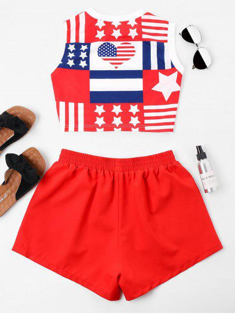 outfits American Flag Sleeveless Shorts Set - RUBY RED XL Mobile