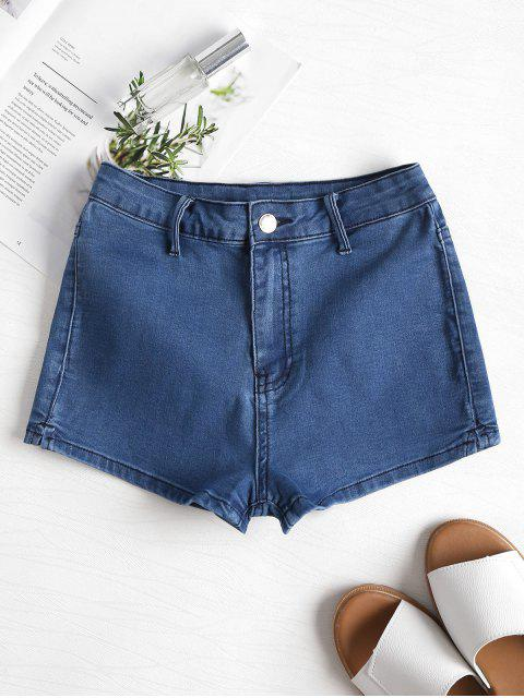 shops Patchwork Denim Shorts - DENIM DARK BLUE M Mobile