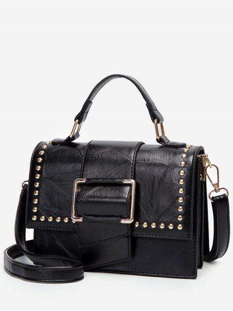 women's Minimalist Flapped Studs PU Leather Crossbody Bag - BLACK  Mobile