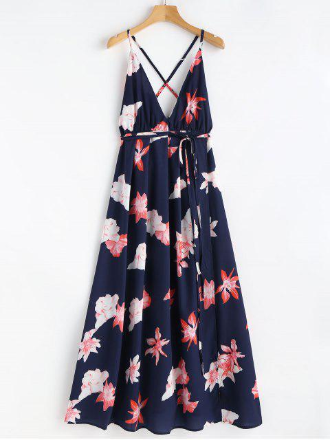 Blumen Druck Riemchen Gebunden Maxi Strand Kleid - Blau M Mobile