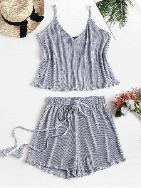women Metallic Cami Top and Shorts Two Piece Set - SILVER S Mobile