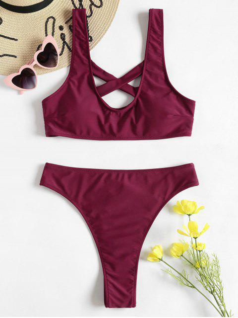 buy Crisscross Tank High Waisted Bikini Set - FIREBRICK S Mobile