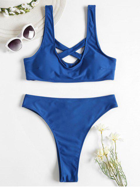 Kreuz Tank Hoch Taillierter Bikini Set - Saphir Blau L Mobile