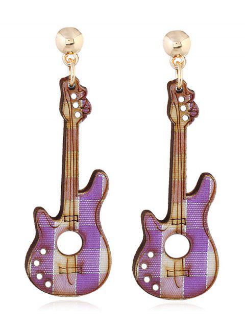 Boucles d'Oreilles Motif Guitare pour Fête - Pourpre   Mobile