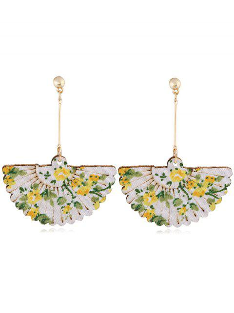 Paire de Boucles d'Oreilles Crochets en Forme d'Éventail à Motif Floral pour Mariage et Fête - Jaune  Mobile