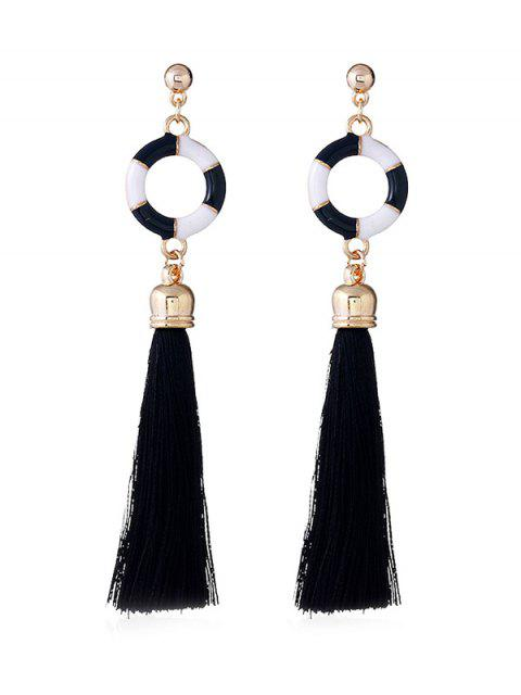 affordable Swimming Ring Decorative Long Tassel Drop Earrings - BLACK  Mobile