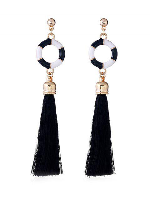 Pendientes de gota borla decorativa de anillo de natación - Negro  Mobile