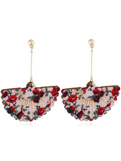 fancy Floral Fan Decorative Wedding Party Hook Earrings - RED  Mobile