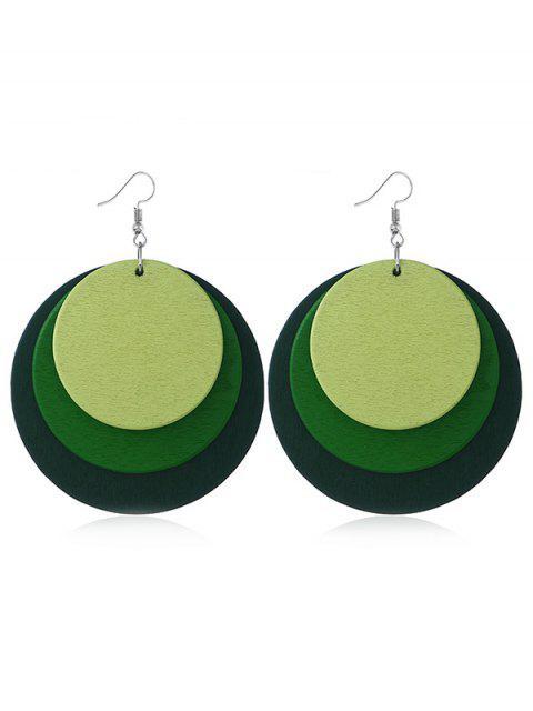 Pendientes redondos del gancho de la boda de la fiesta de múltiples capas - Mar Verde Mediana  Mobile