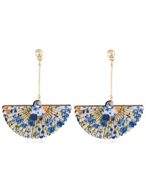outfit Floral Fan Decorative Wedding Party Hook Earrings - BLUE  Mobile