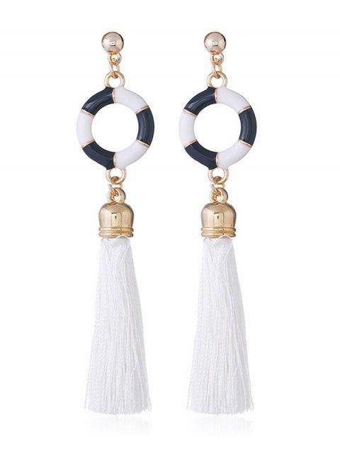 Schwimmring dekorative lange Quaste Ohrringe - Weiß  Mobile