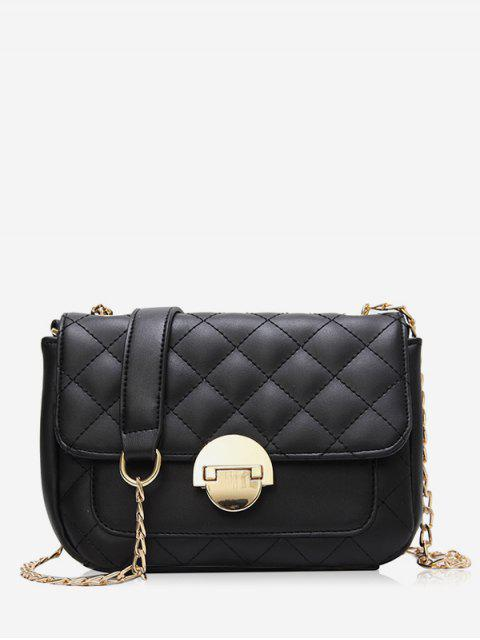 best Retro Quilted Flap Chain Crossbody Bag - BLACK  Mobile