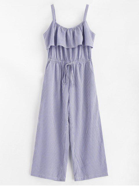 hot Striped Wide Leg Jumpsuit - DENIM BLUE M Mobile