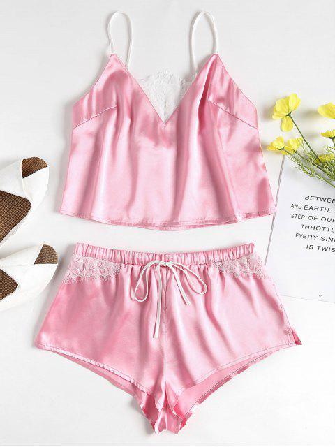 lady Lace-detail Satin Pajama Set - PIG PINK S Mobile